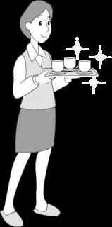 お茶を出す女性